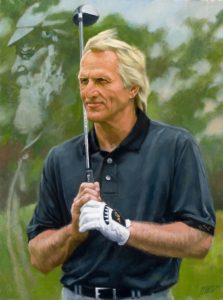Oil Portrait of Greg Norman, Professional Golfer