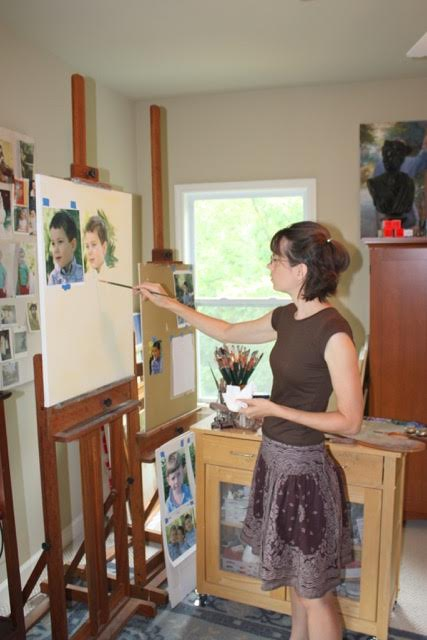 Popular family artist Melissa Crawford in her studio!