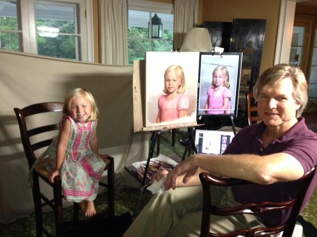 "Steve Craighead and his precious subject enjoy showing off her ""from life"" pastel."